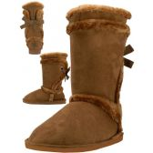18 Units of Wholesale 11 Inches Shaft Women's Micro Fiber Faux Fur Lining Boots - Women's Boots