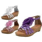 24 Units of Wholesale Girl's Wedges Silk Mesh Flower Top Sandals - Girls Sandals
