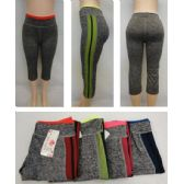 24 Units of Ladies Active Fitness Capris [Fishnet Sides] - Womens Active Wear