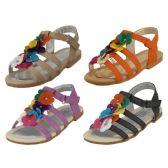 24 Units of Wholesale Children's Multi Colors Flower Top Sandals - Girls Sandals