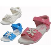 24 Units of Wholesale Toddlers Velcro Top and Side With Flower Top Sandals - Toddler Footwear