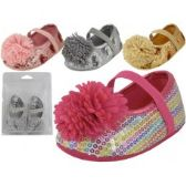 48 Units of Baby Sequin Shoes in Assorted Colors - Baby Accessories