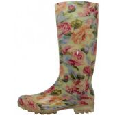12 Units of Women's Neutral Floral Printed Rain Boots