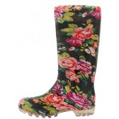 12 Units of Women's Roses Printed Rain Boots - Womens Boots