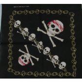 96 Units of Wholesale Bandana Cotton Skull Cross Bone with Chain - Bandanas