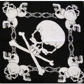 96 Units of Wholesale Bandana Cotton Skull Cross Bone with Barbed Wire - Bandanas