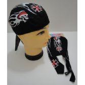 96 Units of Wholesale Skull Caps Motorcycle Hats Fabric Maltese Cross Skull - Bandanas