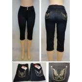 24 Units of Ladies Fashion Stretch Capris [Denim Design] - Womens Leggings