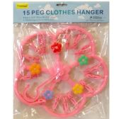 96 Units of CLOTHES HANGER W15PC CLIPS FLOWER STYLE - Clothes Pins