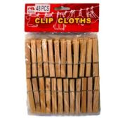 96 Units of 48PC WOOD CLOTH PINS - Clothes Pins