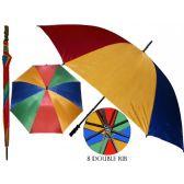 36 Units of 50 Inches Diameter With Double Ribbed Jumbo Rainbow Umbrella - Umbrellas & Rain Gear