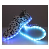 6 Units of LED SHOES ADULT MIX SIZE WHITE WITH MUSICAL NOTES - Men's Sneakers