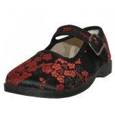 36 Units of Youth's Satin Brocade Plum Flower Upper Mary Janes Shoe ( Black Color Only) - Girls Shoes