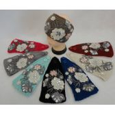 24 Units of Wide Hand Knitted Ear Band w MultiFloral Applique [Gems] Assorted Colors
