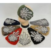 12 Units of Wide Hand Knitted Ear Band w Floral Applique [Lace & Gems] Assorted colors. - Ear Warmers