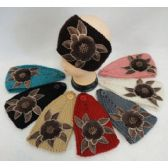24 Units of Wide Hand Knitted Ear Band w Floral Applique [Fur & Beads] Assorted COlors