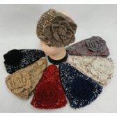 12 Units of Wide Hand Knitted Ear Band [Variegated Band-Solid Bow] Assorted COlors - Ear Warmers