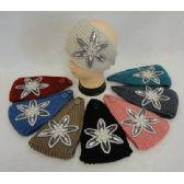 24 Units of Wide Hand Knitted Ear Band [Star Flower Applique w Gems] Assorted Colors