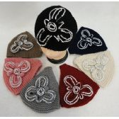 24 Units of Wide Hand Knitted Ear Band [Rhinestone Flower] Assorted Colors