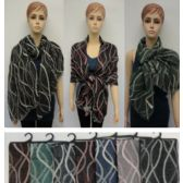 24 Units of Pashmina with Fringe [Wavy Line Vector] - Winter Pashminas and Ponchos