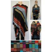 24 Units of Pashmina with Fringe [Stripes & Prints] - Winter Pashminas and Ponchos
