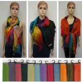 24 Units of Pashmina with Fringe [Rainbow] - Winter Pashminas and Ponchos