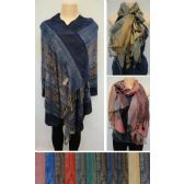 24 Units of Pashmina with Fringe [Floral Vine] - Winter Pashminas and Ponchos