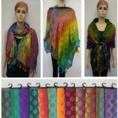 24 Units of Pashmina with Fringe [Colorful Polka Dots] - Winter Pashminas and Ponchos