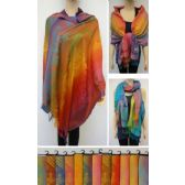 24 Units of Pashmina with Fringe [Colorful Peacock & Floral] - Winter Pashminas and Ponchos