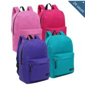 24 Units of 16.5 inch Light Duty Basic Elementary School Kids Wholesale Backpacks, Pastel Color Mix