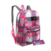 20 Units of MGgear 16.5 inch Pink Plaid Wholesale Backpacks For Girls