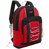 20 Units of 15.5 Inch Bungee Pocket Elementary School Backpack For Kids, Red Color Only
