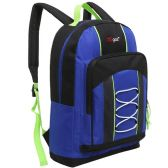 20 Units of 15.5 Inch Bungee Pocket Elementary School Backpack For Kids, Blue Color Only