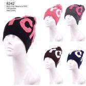 36 Units of Womans Retro Pom Pom Beanie With NYC - Winter Beanie Hats