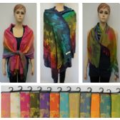 36 Units of Pashmina with Fringe [Colorful Butterflies] - Winter Pashminas and Ponchos