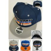 36 Units of NEW YORK Snap Back Flat Bill Hat [Fade Letters] - Baseball Caps & Snap Backs