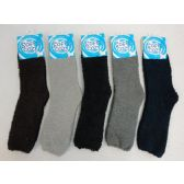 60 Units of Mens Super Soft Solid Color Fuzzy Socks - Mens Thermal Sock