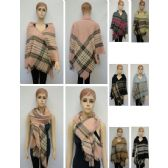 24 Units of Knitted Square Shawl with Fringe [Plaid] - Winter Pashminas and Ponchos