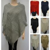 24 Units of Knitted Shawl with Fringe [Sequin Accent] - Winter Pashminas and Ponchos