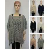 24 Units of Knitted Shawl with Fringe [Diamond Knit] - Winter Pashminas and Ponchos