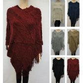 24 Units of Knitted Shawl with Fringe [Diagonal Diamond Knit] - Winter Pashminas and Ponchos