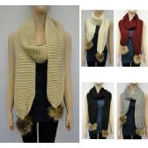 24 Units of Knitted Scarf [Tight Knit with Fur PomPoms] - Winter Scarves