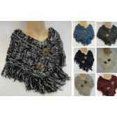 24 Units of Knitted Neck Wrap [Cable Knit with 2 Jumbo Buttons] - Winter Sets Scarves / Hats / Gloves
