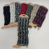 12 Units of Knitted Leg Warmer [Variegated Cable Knit] - Womens Leg Warmers