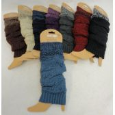 12 Units of Knitted Leg Warmer [Solid w Variegated Cuff] - Womens Leg Warmers