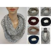 24 Units of Knitted Infinity Scarf [Woven Knit with Shag] - Winter Scarves