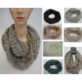 24 Units of Knitted Infinity Scarf [Metallic & Sequin Accent] - Winter Scarves