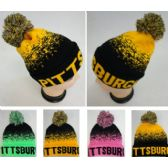 60 Units of Knitted Hat with PomPom [PITTSBURGH] Digital Fade - Winter Beanie Hats
