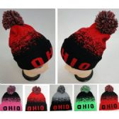 48 Units of Knitted Hat with PomPom [OHIO] Digital Fade - Winter Beanie Hats