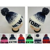 48 Units of Knitted Hat with PomPom [NEW YORK] Digital Fade - Winter Beanie Hats